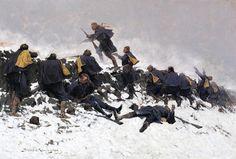 Image detail for -Frederic Remington >> Through the Smoke Sprang the Daring Soldier ...