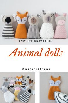 PDF animals sewing pattern for kids girls baby soft toys tutorial animal rag .PDF animals sewing patterns for kids girls baby soft toys tutorial animal rag doll beginners sewing project DIY baby gift handmade toys Animal Sewing Patterns, Sewing Patterns For Kids, Stuffed Animal Patterns, Pattern Sewing, Beginner Sewing Patterns, Pattern Drafting, Sewing For Kids, Free Baby Sewing Patterns, Diy Doll Pattern