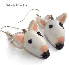 Bull terrier dog earrings polymer clay di velvetdressx su Etsy