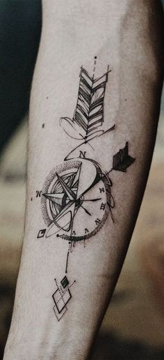 ▷ 1001 + unique and inspiring man tattoo designs - ArchZine FR - - ▷ 1001 + modèles de tatouage homme uniques et inspirants the most beautiful tattoos, how to choose the tattoo design, drawing compass with arrows - Mens Arrow Tattoo, Arrow Compass Tattoo, Compass Tattoo Design, Arrow Tattoo Design, Arrow Tattoos, Forearm Tattoos, Sleeve Tattoos, Mandala Compass Tattoo, Compass Tattoo Meaning