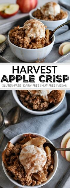 Gluten-free Harvest Apple Crisp - The Real Food Dietitians Vegane Desserts Gluten-free Harvest Apple Crisp Dessert Oreo, Coconut Dessert, Dessert Sans Gluten, Gluten Free Desserts, Dairy Free Recipes, Real Food Recipes, Dessert Bars, Dairy Free Halloween Recipes, Paleo Fall Recipes