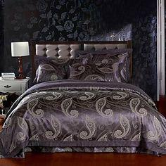 4-Piece Purple Floral Jacquard Cotton Duvet Cover Set – USD $ 79.99
