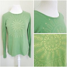 "⭐ casual print l/s tee Light green with light yellow sun style print. Brand: Columbia. Size: L (B:20.5"" L:25"") - #JAN13.05 Columbia Tops Tees - Long Sleeve"