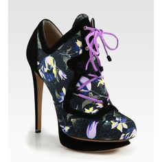 Nicholas Kirkwood Suno Printed Canvas & Suede Lace-Up Ankle Boots ($1,295) ❤ liked on Polyvore