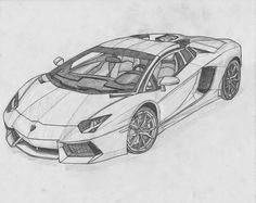 Image for Lamborghini Aventador Black And White Drawing