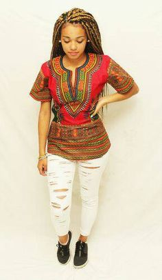 Top rouge dashiki by AfricanStyleAS on Etsy
