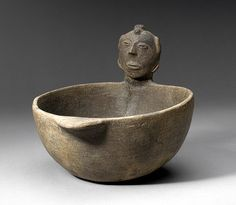 Bowl with human head figure, 11th-14th centuries AD, southeastern Missouri, Mississippian culture