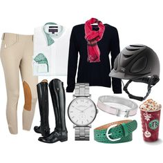 Super fun equestrian style! :) I love how there is the Starbucks as well must mean its mandatory!