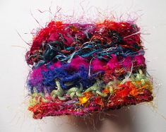Textile bracelet OOAK fabric cuff hooked silk metallic cords red green vintage button rainbow colours