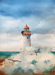 Digital prints: Seascape, Lighthouse and Mermaids by Watercolor Wallpaper, Watercolor Paintings, Seascape Paintings, Landscape Paintings, Lighthouse Painting, Lighthouse Pictures, Guache, Coastal Art, Beach Art