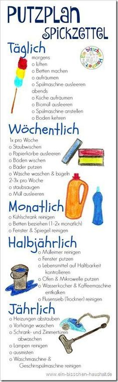 Praktischer Printout: Spickzettel zum Putzen – mit allen wichtigen Aufgaben um d… Practical Printout: Cheat sheets to clean – with all the important tasks to get the apartment quickly and easily clean. Home Hacks, Diy Hacks, House Cleaning Tips, Cleaning Hacks, Flylady, Home Organisation, Cheat Sheets, Filofax, Better Life