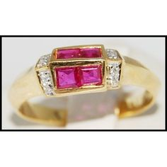 http://rubies.work/0503-sapphire-ring/ Four Unique Ruby Ring and Diamond 18K Yellow Gold by BKGjewels