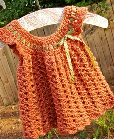 Crochet Infant Pinafore 36 months Cinnamon Spice by TheLilliePad, $15.00