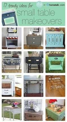 Check out these trendy small table makeovers! The ugly dirty heavy one turned aqua especially pops!