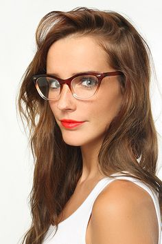 'Emma' Gradient Frame Cat Eye Clear Glasses - Brown - 1029-2