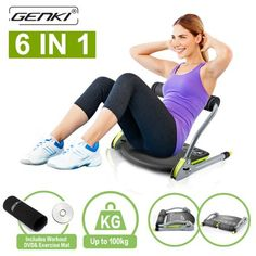 Genki Abs Machine Total Core Exercise Abdominal Trainer Ab Workout Fitness Equipment Sit Ups Crunches 6 In 1 (Exercise DVD Guide and Anti-Skid Pads) For Home Gym, Black Ab Workout Machines, Abs Workout Video, Six Pack Abs Workout, Abs Workout Routines, Abs Workout For Women, Workout Challenge, At Home Workouts, Workout Fitness, Ab Workouts