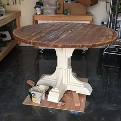 Not bad for some 2x boards, right This is why I DIY. I was able to turn about $80 worth of framing studs into this this chunky pedestal table! Can't wait to show you where she's going - and yes, plans soon! #shanty2chic #openconcept #hgtv #lovehgtv