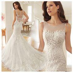 Princess Bride Tail Pivot Backless Lace Wedding Dress / Size XS - XXL
