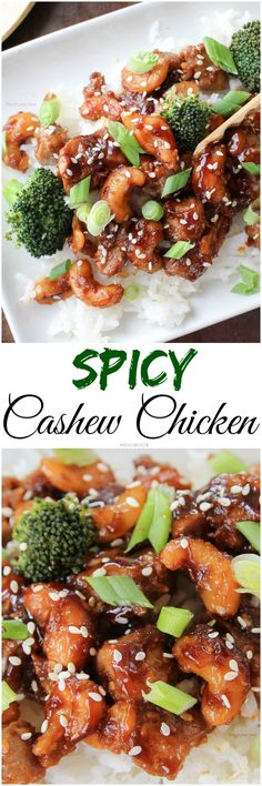 Spicy Cashew Chicken - Deliciously savory, saucy and spicy, this cashew chicken is about 100 times better than takeout! You should try it tonight, it's super easy to make!