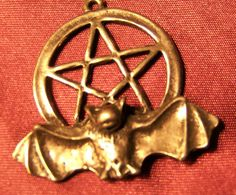 BAT pentagram hand-cast pewter made in Florida USA pendant ~charm