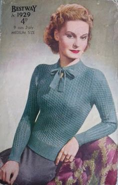 Lovely sweater (early 40s). Blog post has many more pictures of different dates of different sweaters.