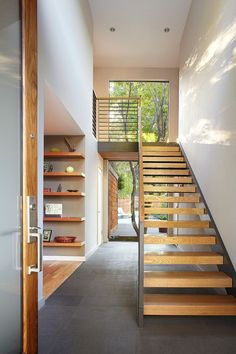 34 Easy And Simple Indoor Wood Stairs Design Ideas You Never Seen Before. Unique indoor wood stairs design ideas you never seen 40 unique indoor wood stairs design ideas you never seen  Open Stairs, Floating Stairs, Wood Stairs, House Stairs, Stairs Window, Entry Stairs, Wood Walls, Wood Flooring, Floating Shelves