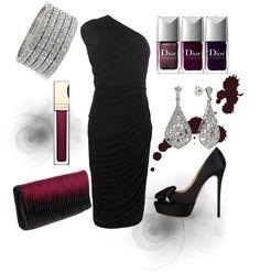 """Not so basic black & burgundy"" by luchenskil on Polyvore"