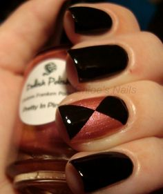 Black and copper triangular design nail polish.