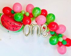 One in a Melon Balloons One in a Melon Watermelon Party Watermelon Balloon One in a Melon Birthday One in a Melon Theme One Balloon Watermelon Birthday Parties, 1st Birthday Party For Girls, Fruit Birthday, Birthday Ideas, Watermelon Party Decorations, Watermelon Centerpiece, Simple First Birthday, Watermelon Crafts, Watermelon Cake