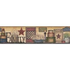 AC4342BD - Family Shelf Border Wallpaper in Brown, Red, Green, and Blue