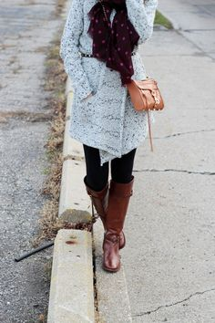 Sweater coat and tights