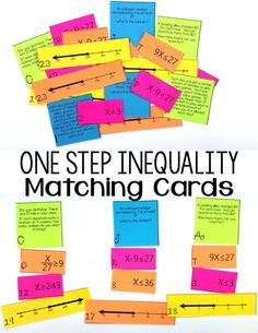 This was such a fun activity for my & grade math students! They really loved learning how to match a one step inequality to a word problem, solution, and number line. This would be a great math test prep activity or a sub lesson! 8th Grade Math Worksheets, Sixth Grade Math, Seventh Grade, Math Activities, Math Games, Math Enrichment, Leadership Activities, Math Resources, Math Test