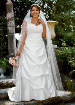 David's Bridal Wedding Dress: Cap Sleeved Satin Side-Draped A-Line Gown Style 9T3090