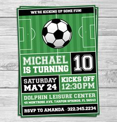 Custom Soccer (Football) Kids Printable Party Invitations by Party Prints Online