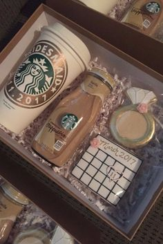 The best way to a woman's heart is coffee and cookies.  Consider giving a cute Starbucks package to your bridesmaids either to pop the question OR as a thank you gift for their support and involvement in your big day.