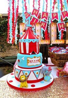 Amazing cake at a carnival birthday party!
