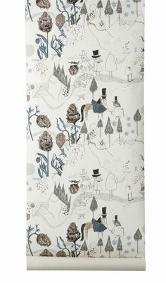 """""""Mountain Friends"""" by   FERM LIVING @ Project Decor  //  Printed on WallSmart wallpaper (non-woven fleece). WallSmart wallpaper is a new generation of non-woven wallpaper that is easier and faster to hang. #wallpaper #handdrawn #illustration"""