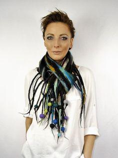 Nuno felting scarf / felted  scarf  / Handmade felted scarf  / Wool Scarf…