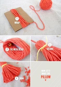 Part of a tassel pillow diy . but that shows you how to make a tassel. Just peasy and so cute! (for garland - Tasche häkeln - Cool Decorative Pillows Pom Pom Crafts, Yarn Crafts, Diy And Crafts, Crafts For Kids, Arts And Crafts, Diy Pompon, How To Make Tassels, Making Tassels, Garland Making