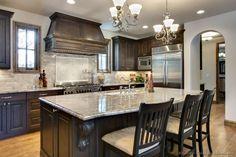 Traditional Dark Wood-Walnut Kitchen Cabinets #64 (Kitchen-Design-Ideas.org)