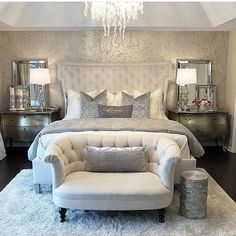 Modern Bedroom Ideas 40 brillante Schlafzimmer-Design-Ideen 5 A Quick Guide to Home Mailboxes Articl Glam Bedroom, Home Decor Bedroom, Modern Bedroom, Bedroom Ideas, Contemporary Bedroom, King Bedroom, Master Bedroom Furniture Ideas, Silver Bedroom Decor, French Bedroom Decor