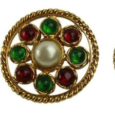 """""""Gold Red Green Clip On Earring   BG-#2720080"""" CHANEL  CC Gold Red Green Clip On Earring Gripoix Multicolor CHANEL Jewelry Earrings"""