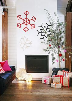 Any type of potted tree can be fashion into a festive display! Story: homes+