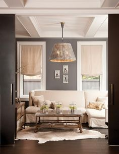 Love the wall color-Elegant gorgeous living room - grey walls - chandelier Interior, Home, House Styles, Gray Interior, Room Inspiration, House Interior, Living Room Grey, Living Room Inspiration, Interior Design