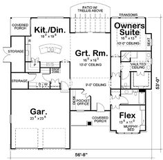 - 42207DB   Architectural Designs - House Plans add basement, add fireplace, change kitchen a little....