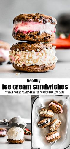 These Vegan Ice Cream Sandwiches are a fun and delicious frozen treat and perfect for a hot summer day! A classic childhood dessert made healthier with with a creamy and delicious dairy-free coconut vanilla ice cream base that is both delicious and subtly sweet stacked between two soft and chewy paleo vegan chocolate chip cookies. Gluten-free, refined sugar-free, grain-free with low cabr keto sweetener options. #vegan #icecream #icecreamsandwiches #paleo #glutenfree #dairyfree Köstliche Desserts, Low Carb Desserts, Frozen Desserts, Gluten Free Desserts, Frozen Treats, Delicious Desserts, Easter Desserts, Birthday Desserts, Healthy Ice Cream