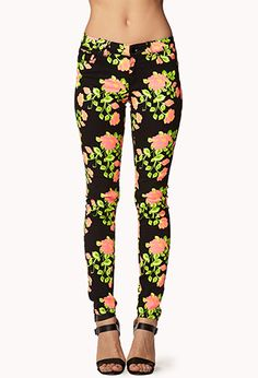 Rose Print Skinny Jeans