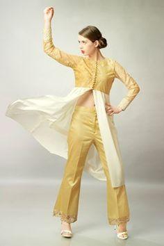 Kurtis, Cream and Golden Net Satin Top With Golden Pant