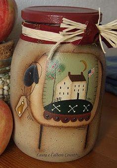 Cute primitive crafted mason jar..