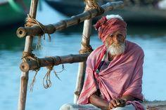 Elder at the Ganges , Varanasi, India.....Photo by Piet Flour